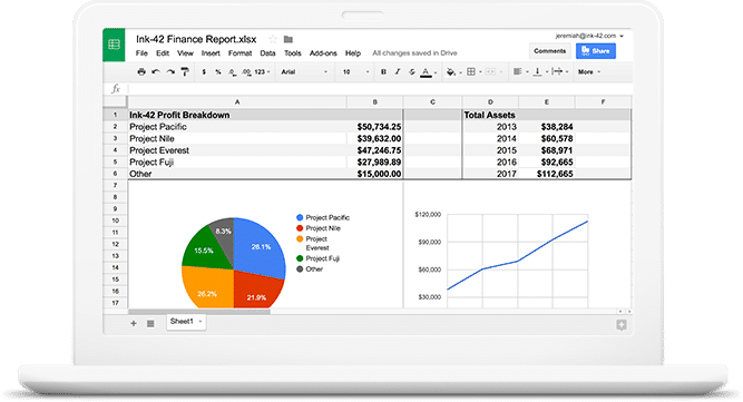G Suite screenshot: Create and edit spreadsheets from any device