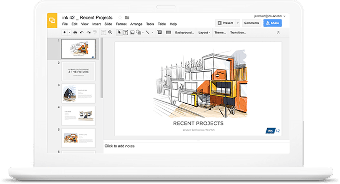 G Suite screenshot: Create, edit and present presentations from any smart device
