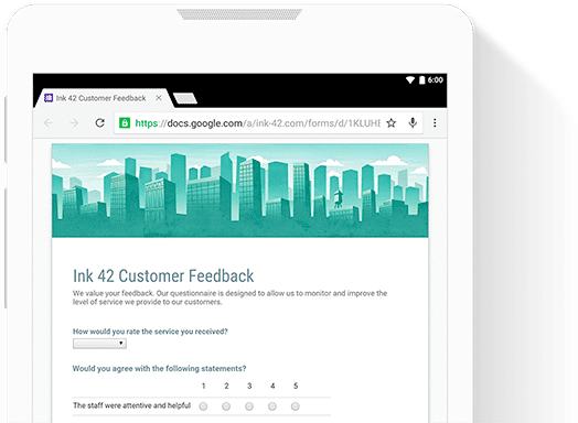 G Suite screenshot: Create custom forms for online surveys and questionnaires