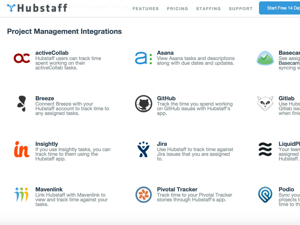 Hubstaff screenshot: Hubstaff Project Management Integrations