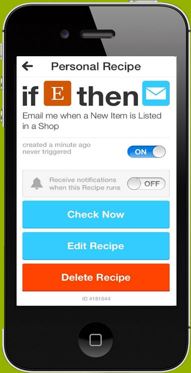 IFTTT screenshot: Enables users to set up automatic notifications