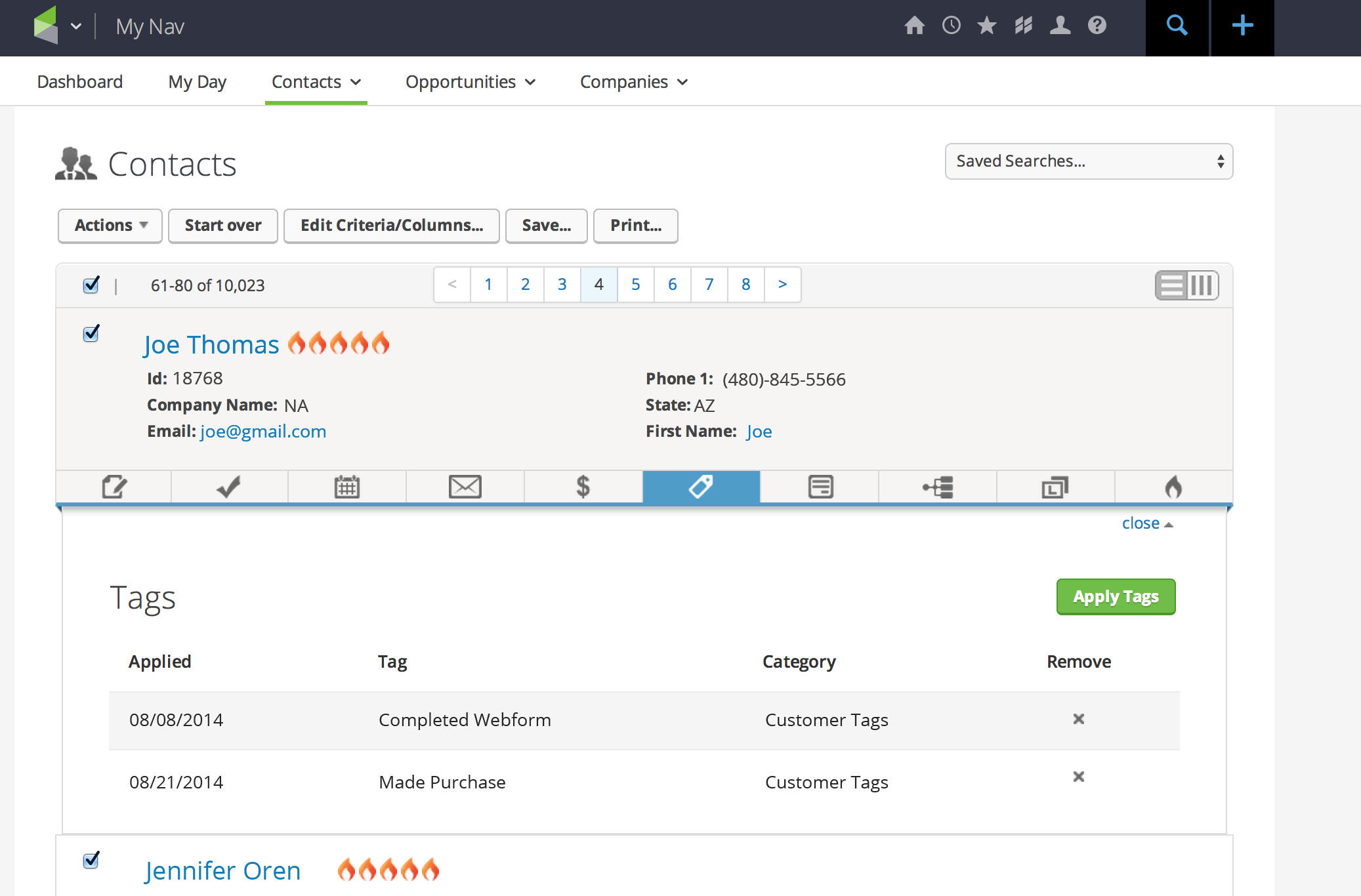 Infusionsoft screenshot: Contact records in Infusionsoft's CRM