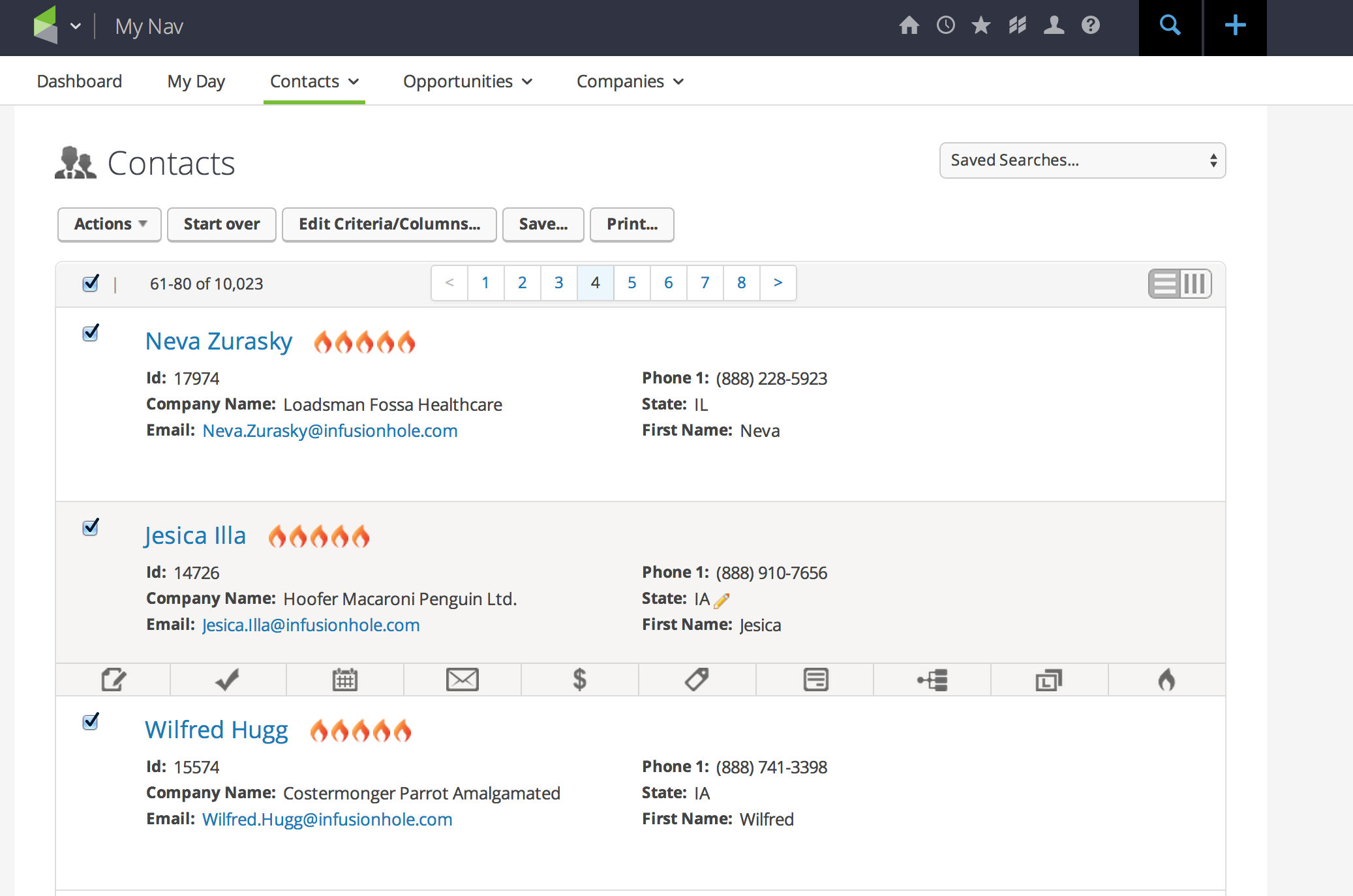Infusionsoft screenshot: Lead management in Infusionsoft for visual lead scoring