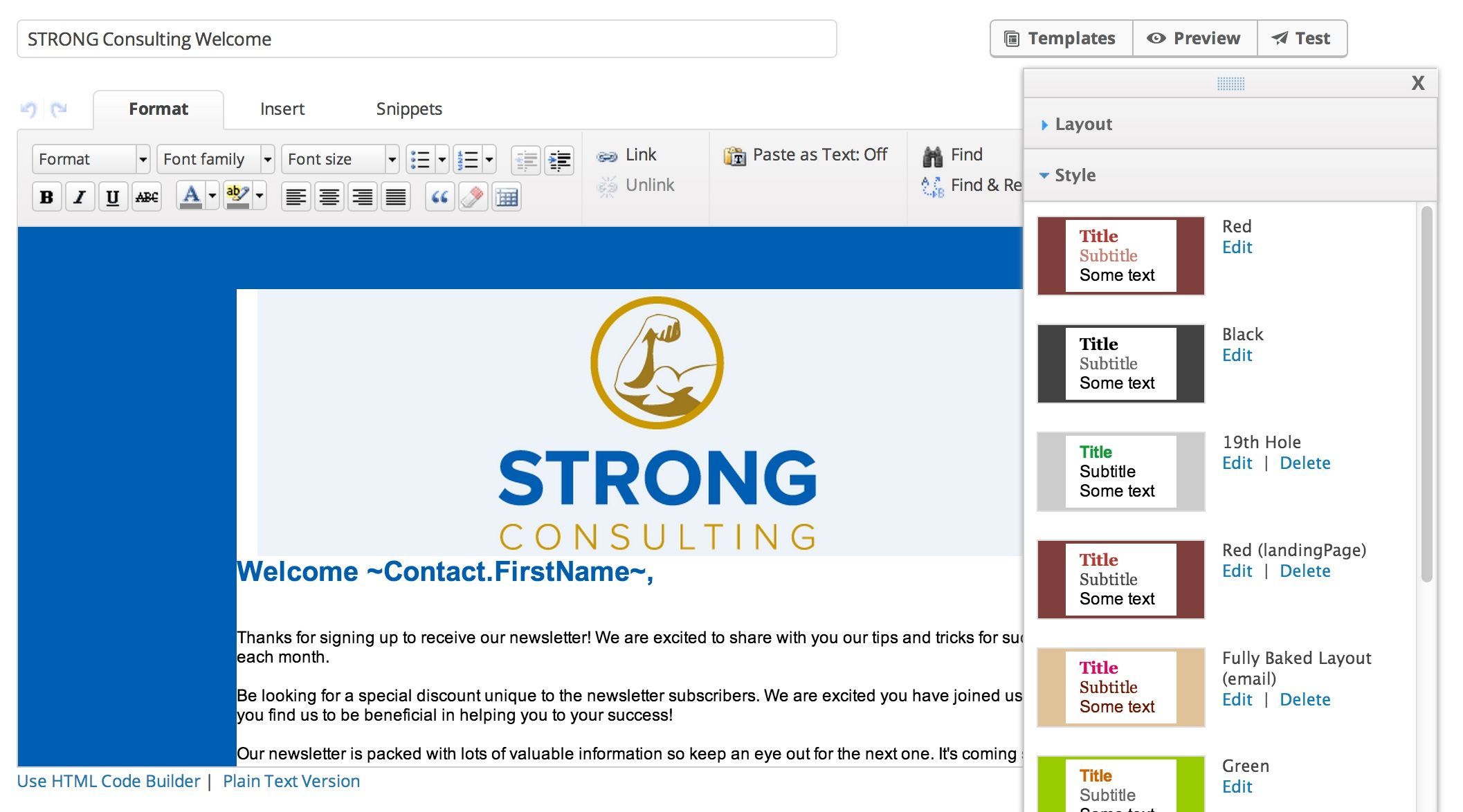 Infusionsoft screenshot: Custom branded email marketing campaign with Infusionsoft