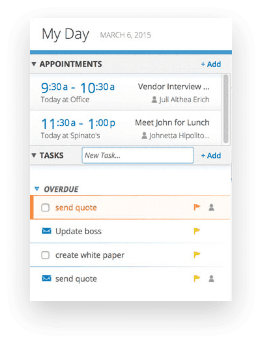 Infusionsoft screenshot: Calendar and task management