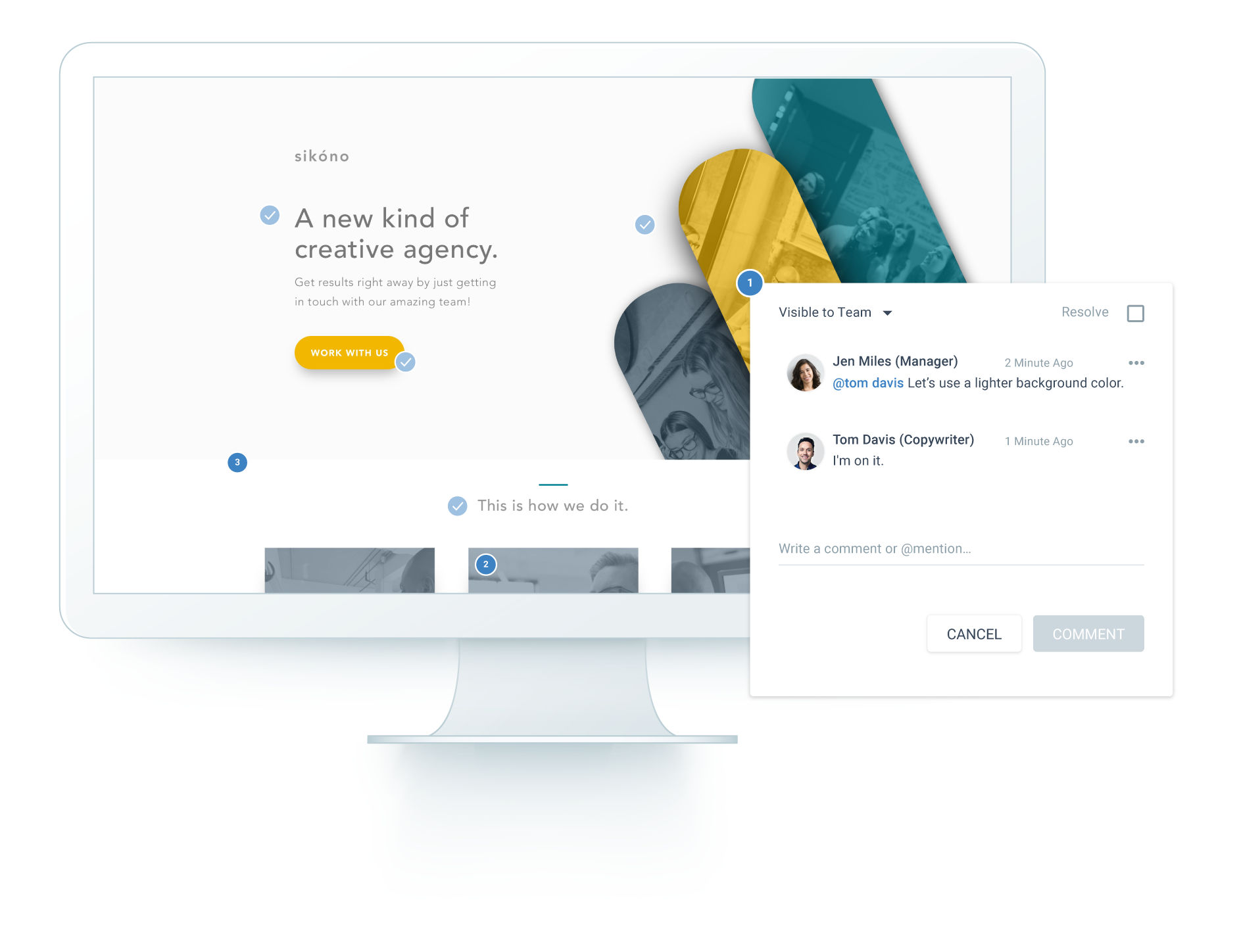 Instapage screenshot: Save your team time with Instapage collaboration, which enables your designers, account managers, and clients to leave feedback right on a landing page.