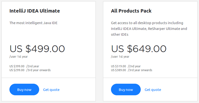 IntelliJ IDEA Pricing