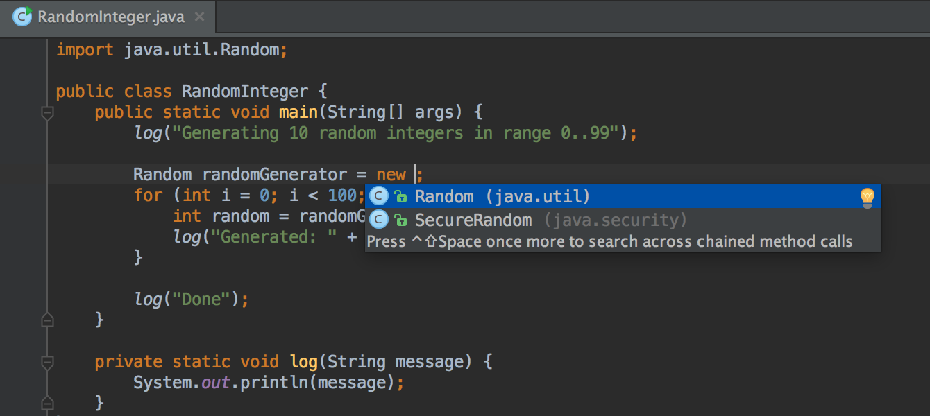IntelliJ IDEA Demo - Smart completion