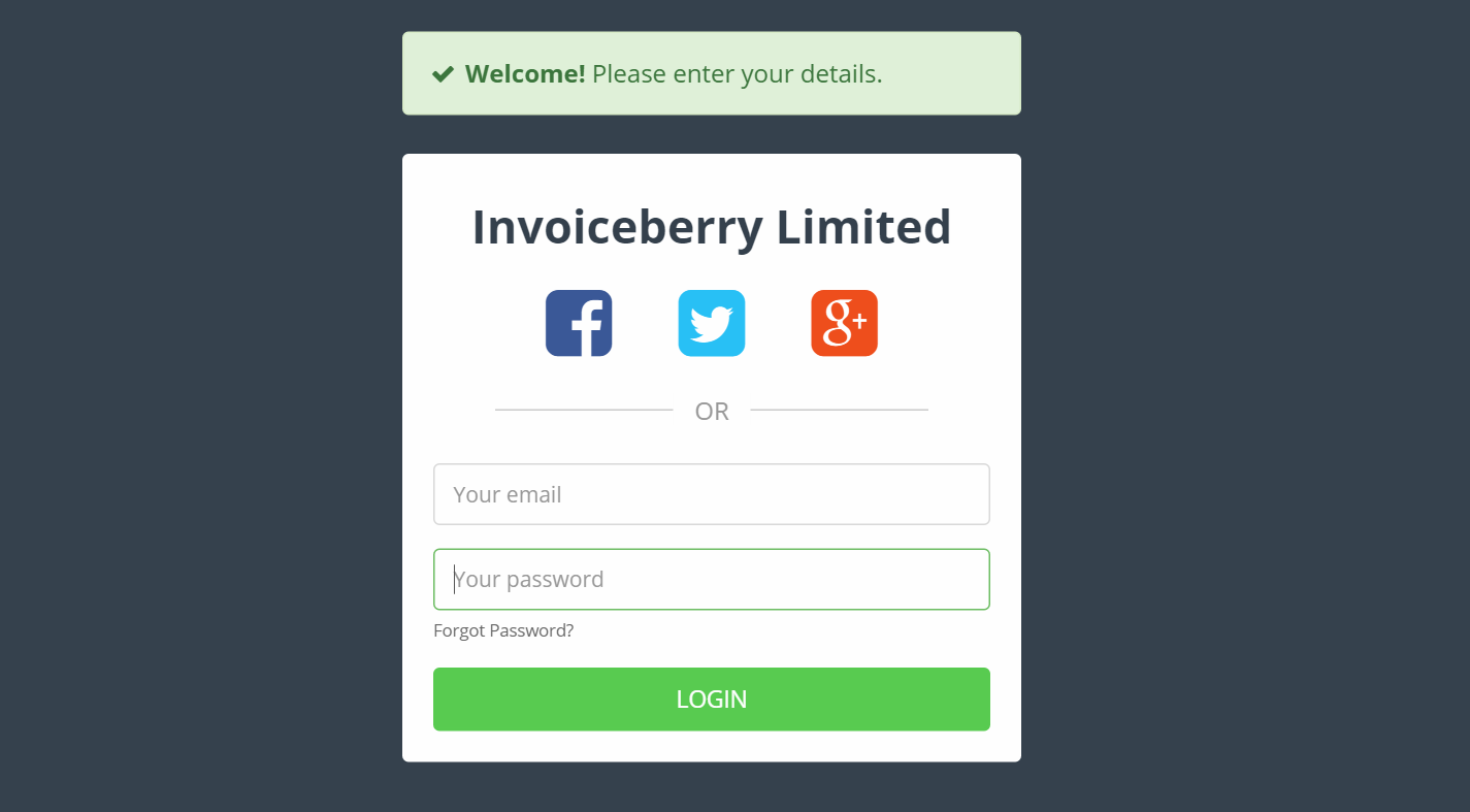 InvoiceBerry Demo - Sign Up