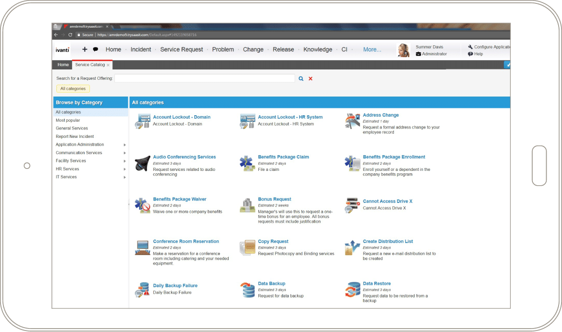Ivanti Service Manager Screenshots