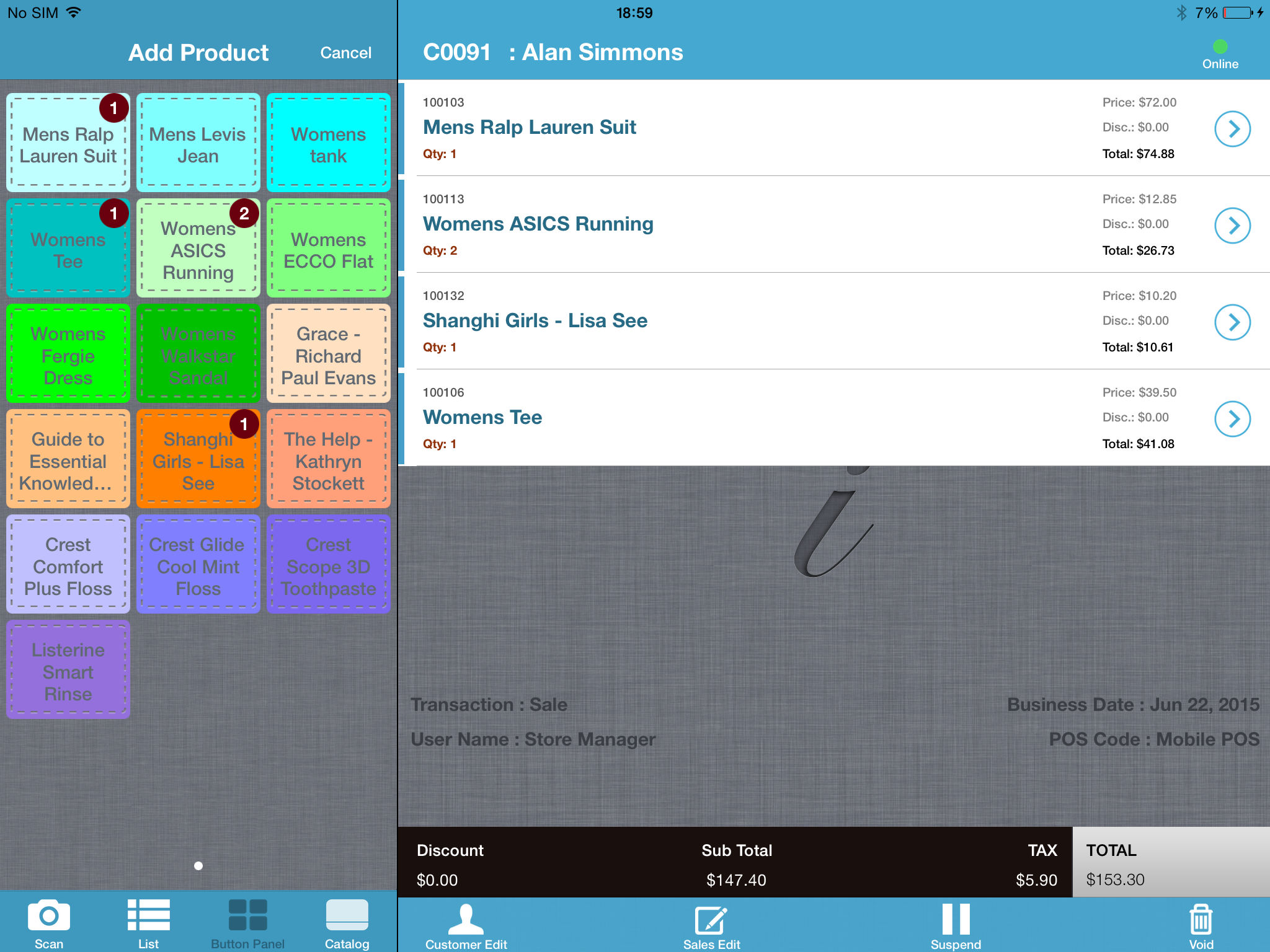 iVend Retail screenshot: iVend Mobile Point of Sale (mPOS) features a colorful, easy to use interface for Item Selection.