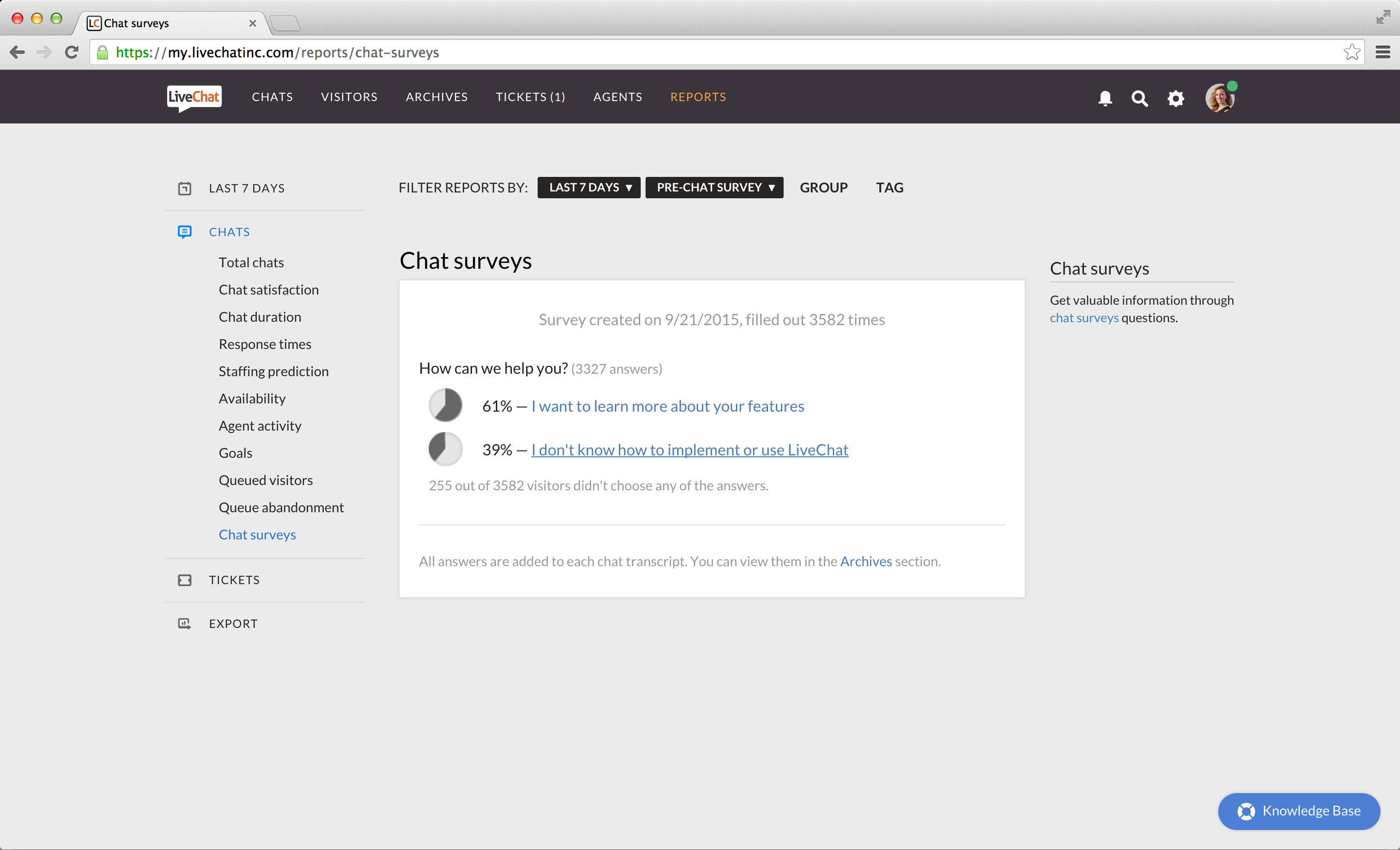 LiveChat screenshot: Gain feedback from chat surveys