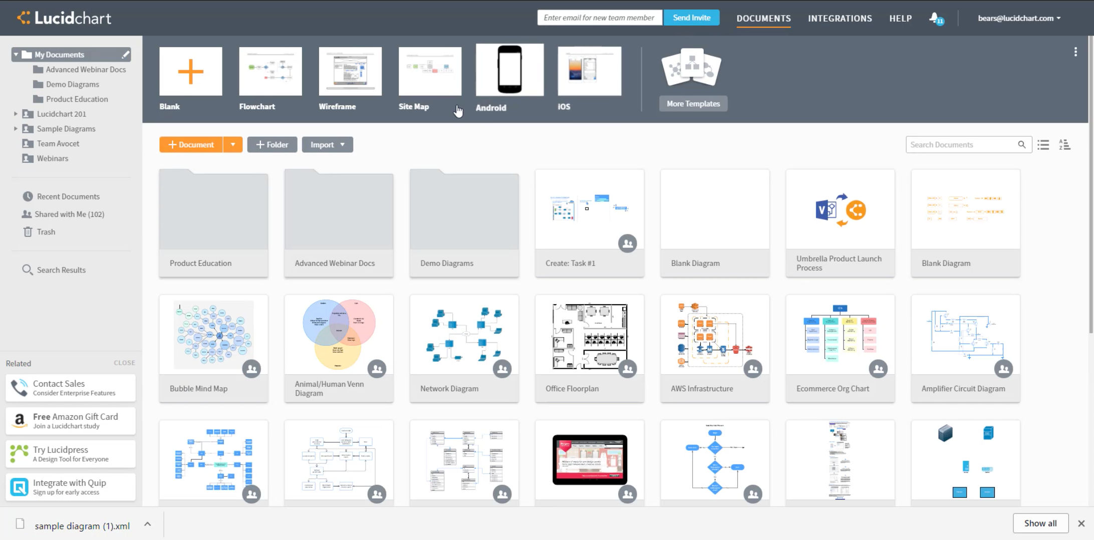 Lucidchart screenshot: View all document folders and import projects from third party platforms