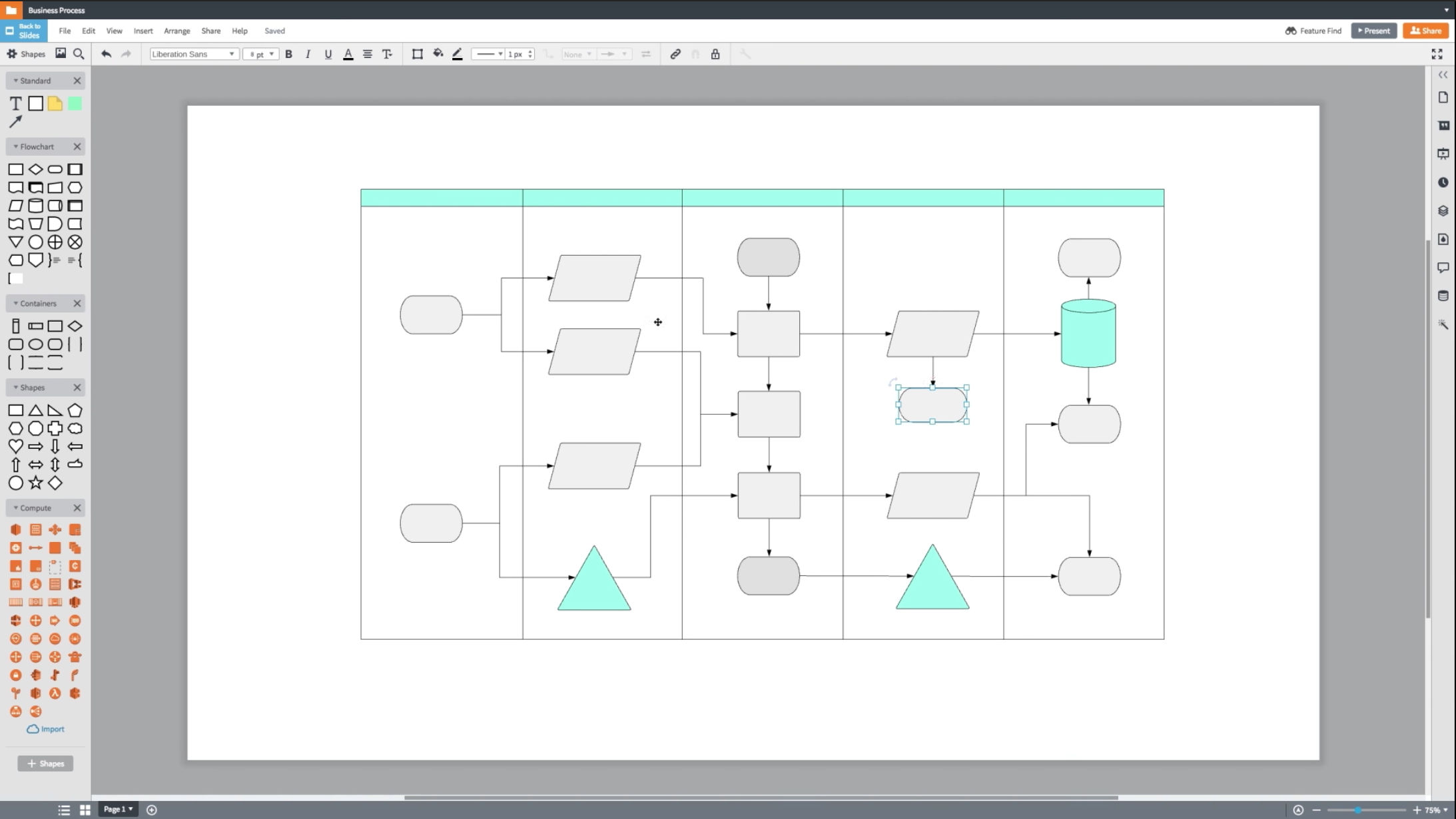 Lucidchart screenshot: Access the editor for hundreds of shape libraries and advanced automated features