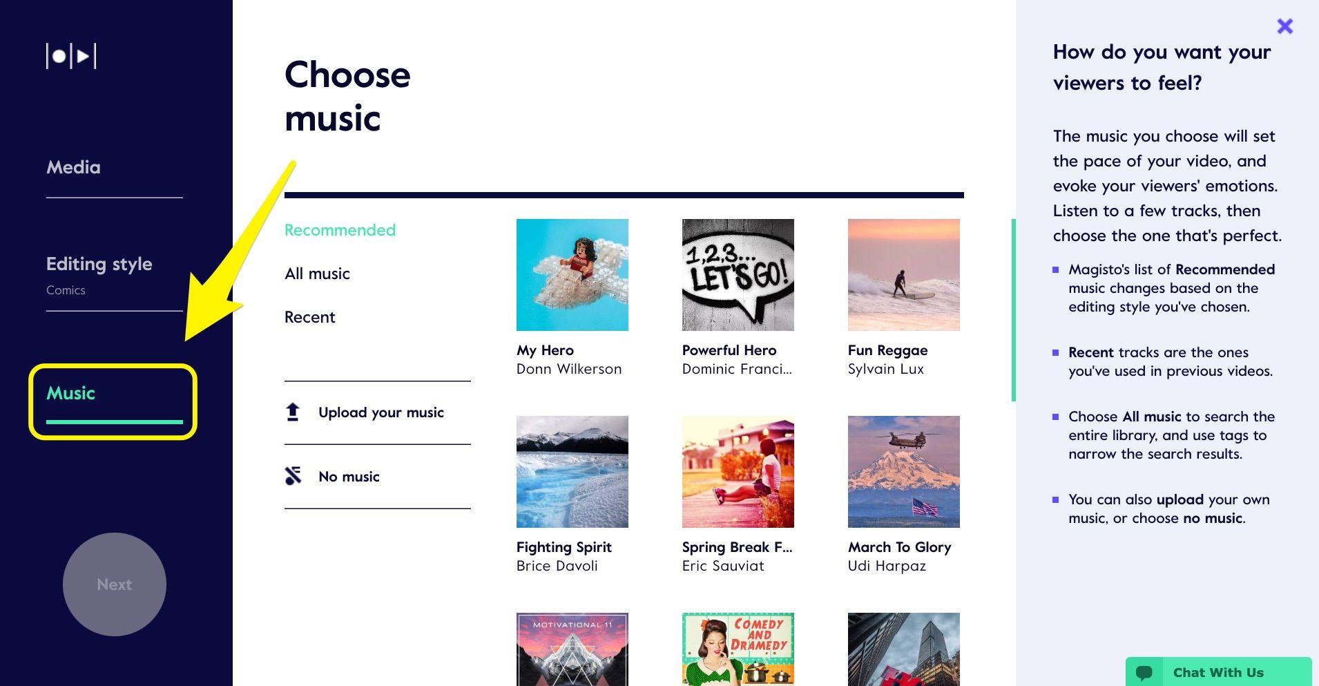 Choose music
