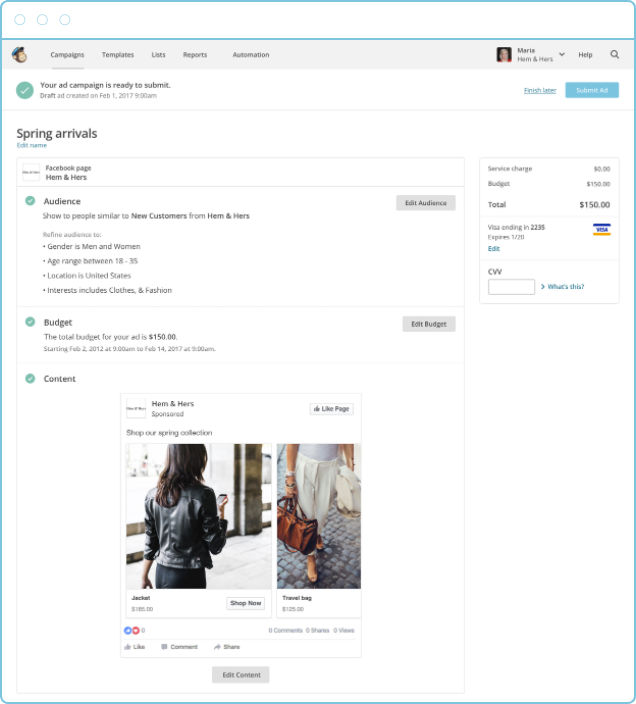 MailChimp screenshot: Create advertising campaigns to target specific user segments and choose custom settings
