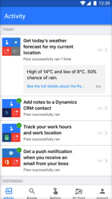 Microsoft Flow screenshot: Activity feed
