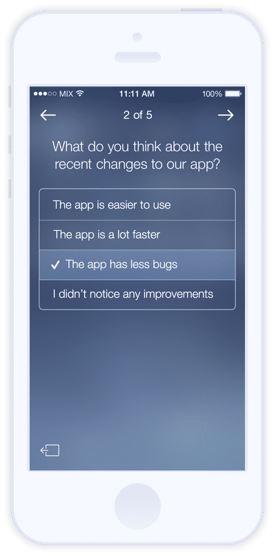 Mixpanel screenshot: Mobile surveys with Mixpanel