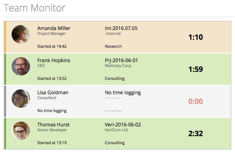 MoneyPenny screenshot: Live time tracking
