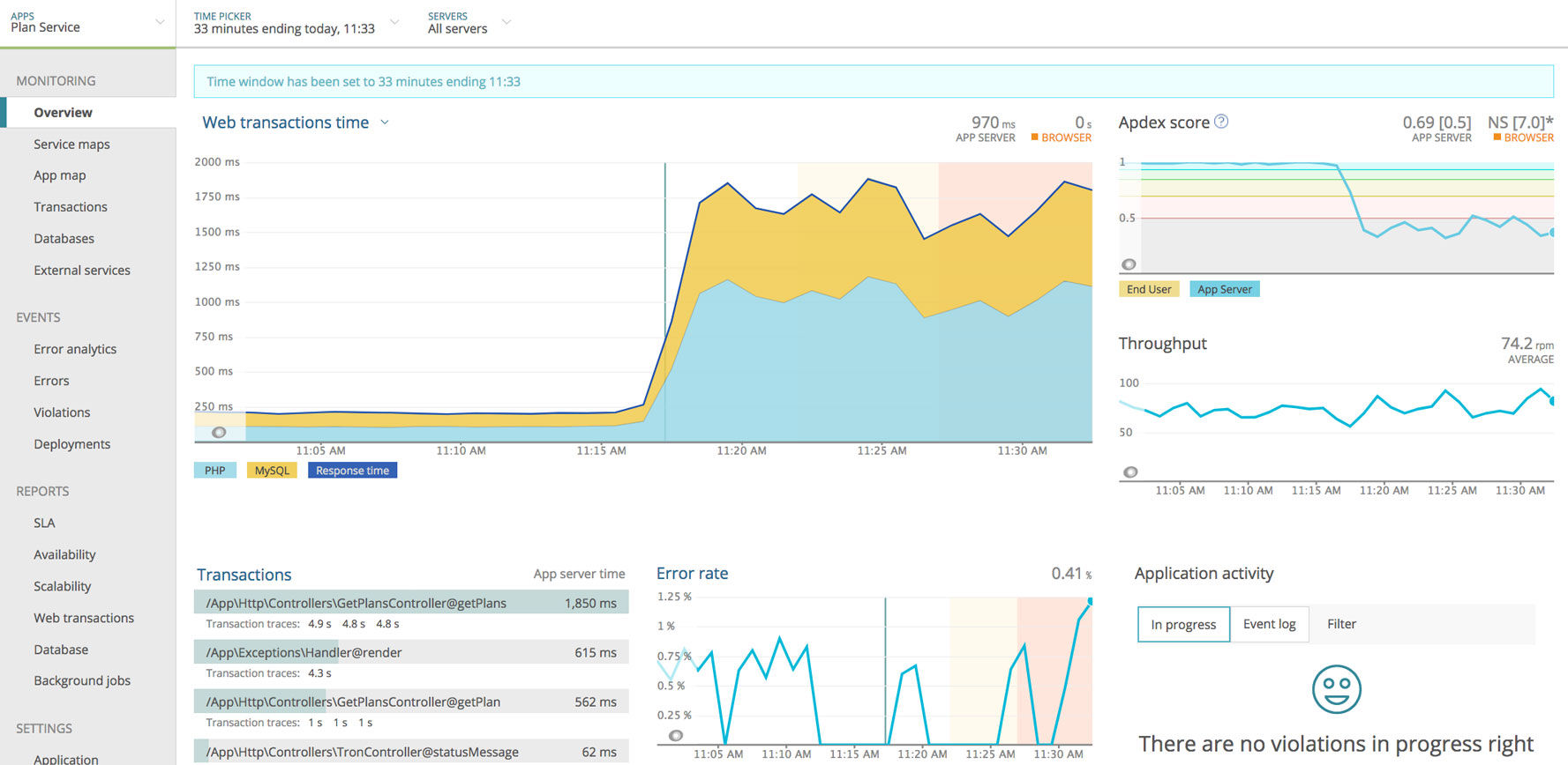 New Relic APM screenshot