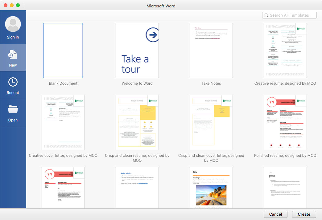 Microsoft Office 365 screenshot: Microsoft Word is included in Office 365 subscriptions