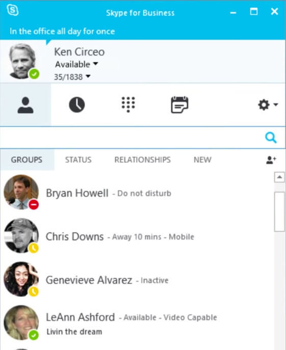 Microsoft Office 365 screenshot: Skype for Business is included in Office 365 subscriptions