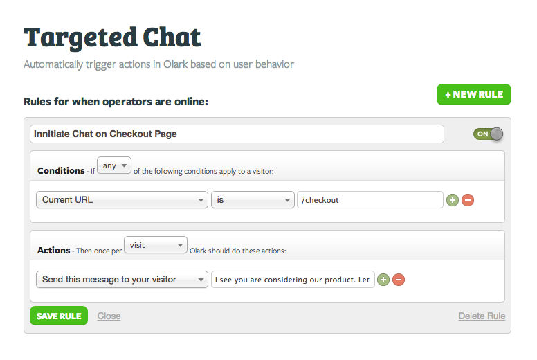 Olark live chat screenshot: targeted-chat