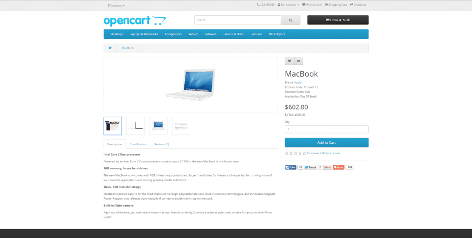 OpenCart Screenshots