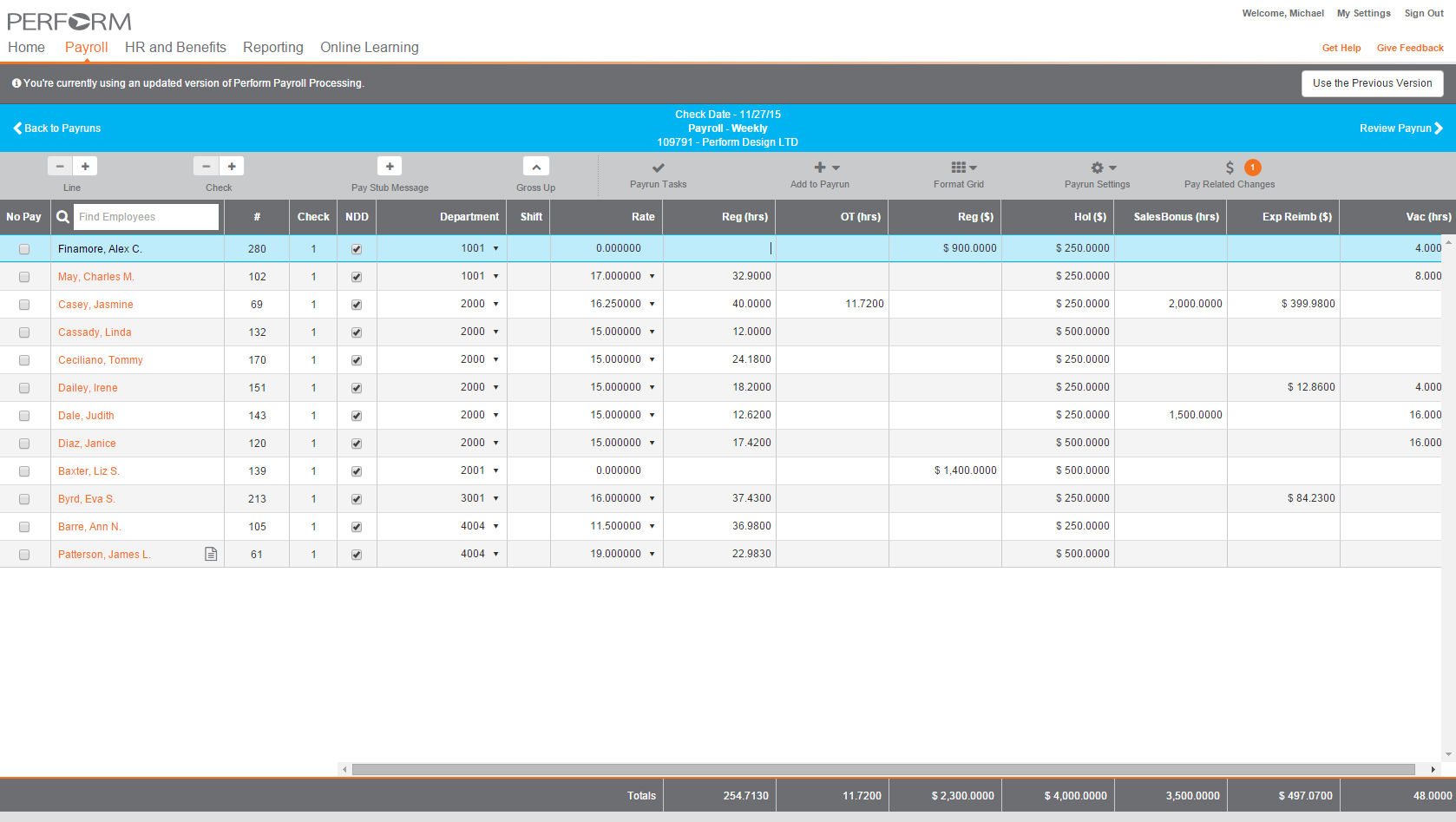 Paycor Perform screenshot: Payroll can be managed in Paycor Perform