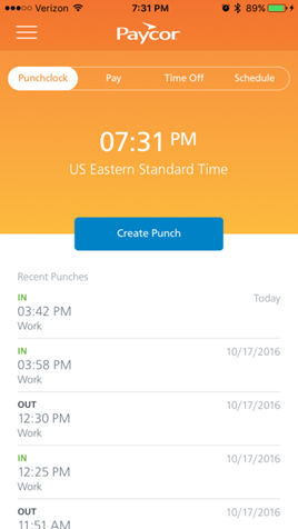 Paycor Perform screenshot: Employees can punch in and out from their mobile device