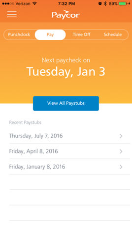 Paycor Perform screenshot: Paystubs can also be viewed on employees' devices