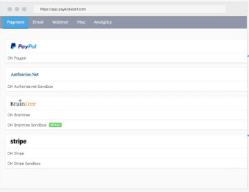 Paykickstart screenshot: Built-in payment integrations