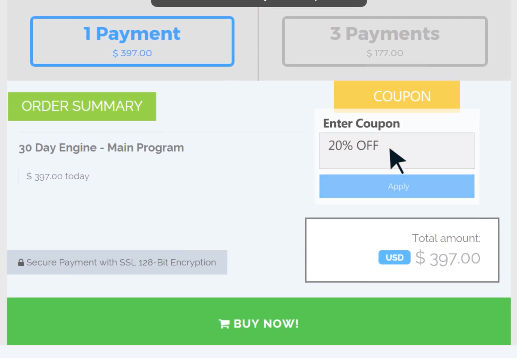Paykickstart screenshot: Coupon codes