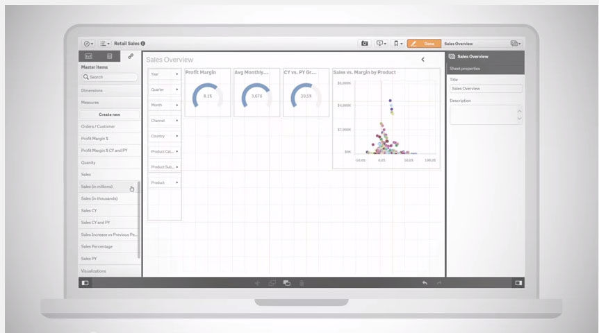 Qlik Sense screenshot: Qlik Sense Sales Overview