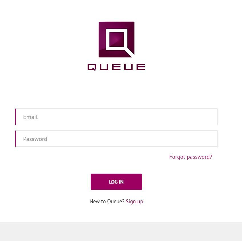 Queue screenshot: The Queue user login page