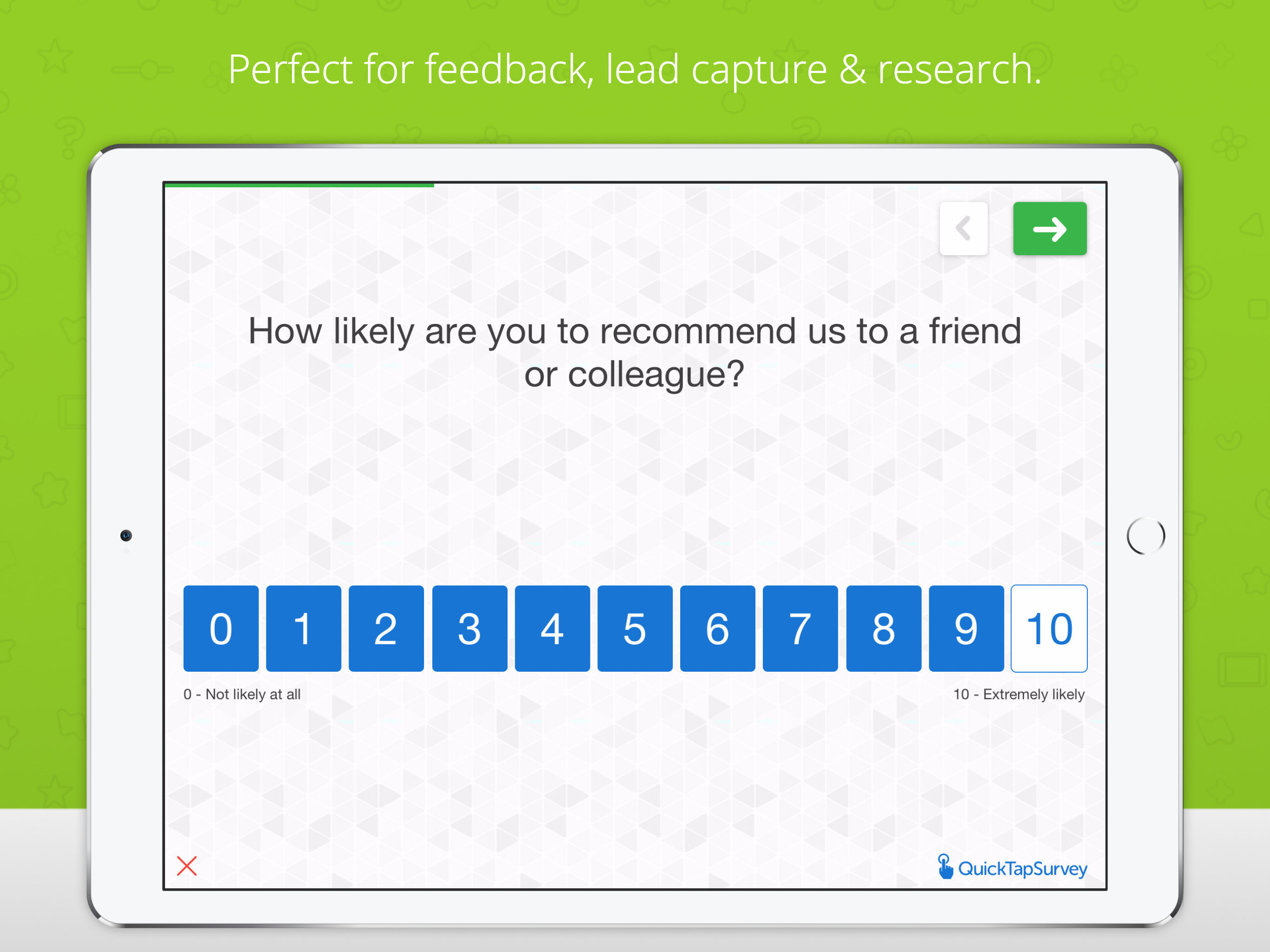 QuickTapSurvey screenshot