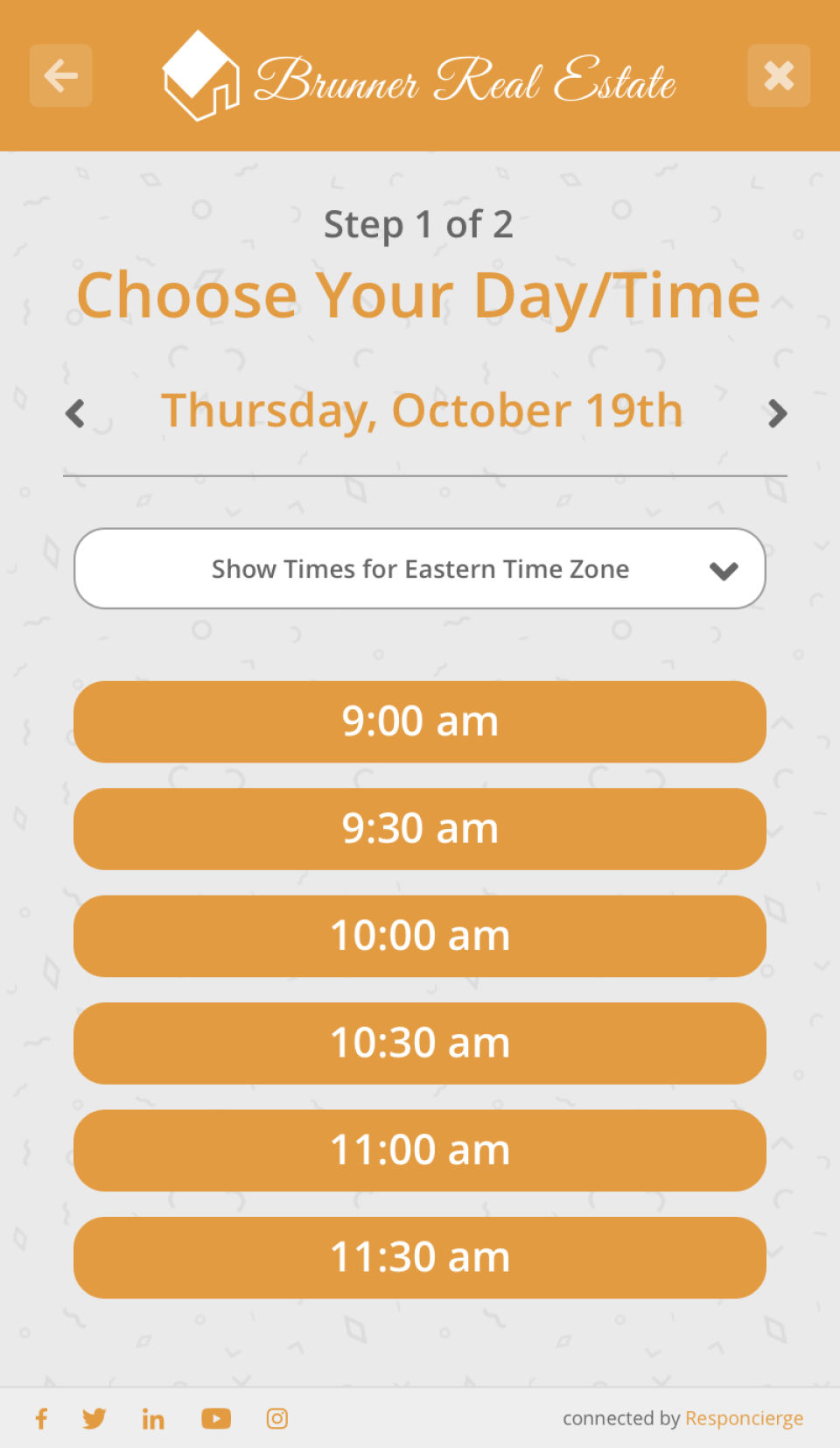 Responcierge screenshot: Set hours or availability and event durations so that customers can schedule meetings or events