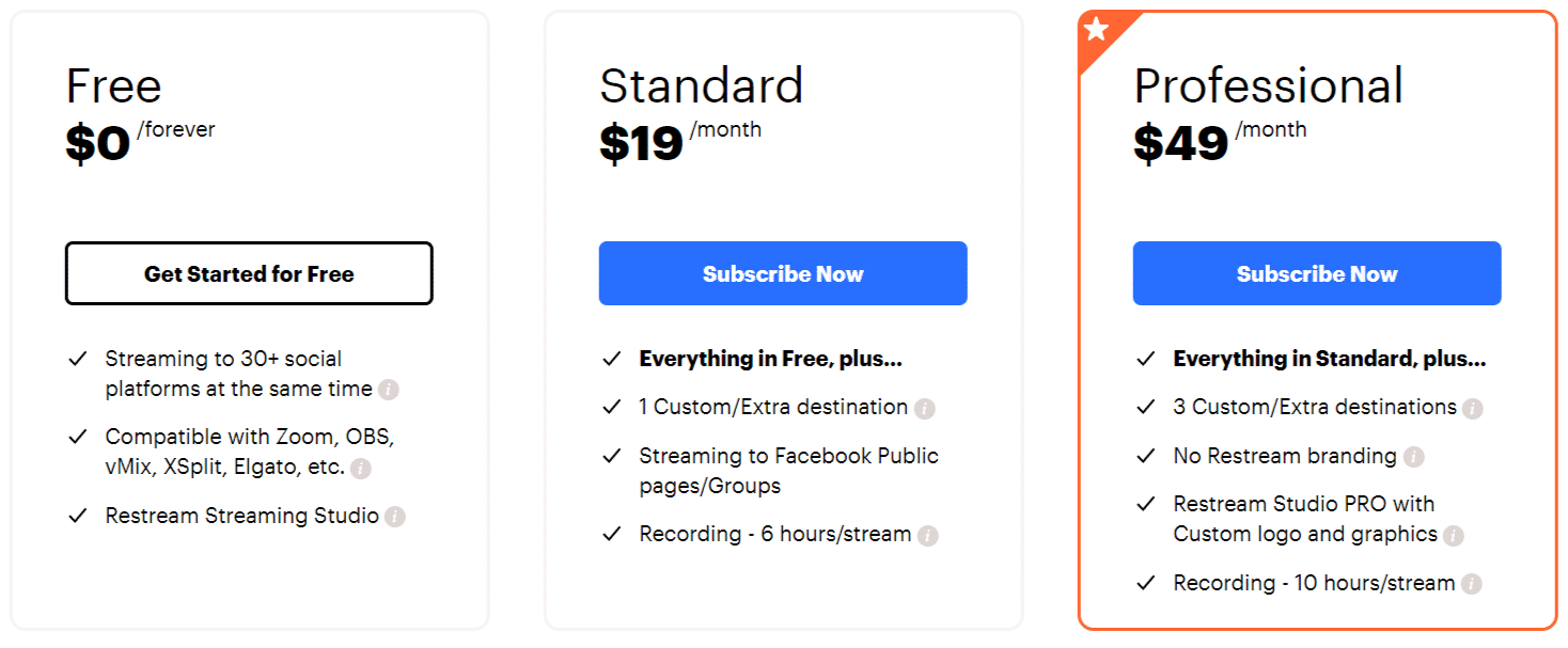 Restream Pricing