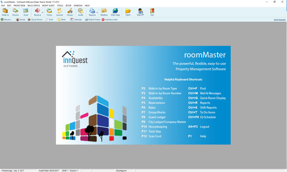 roomMaster screenshot: From the main screen users can enter shortcuts to quickly carry out common commands