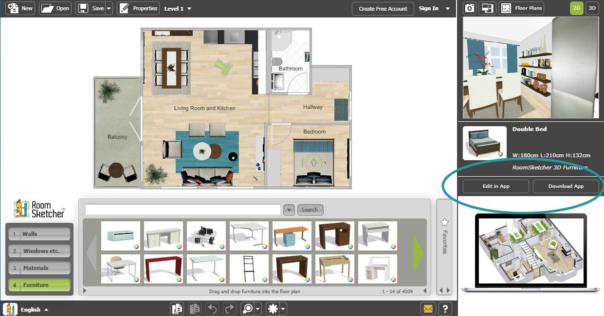 Web Editor to the RoomSketcher App