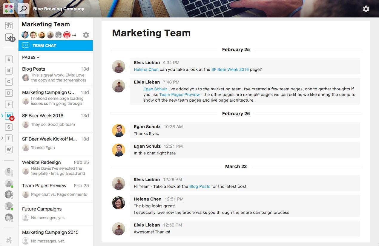 Samepage screenshot: Chat with team members, teams, or your entire organization. Even chat with vendors, partners, clients, and others outside of your organization.