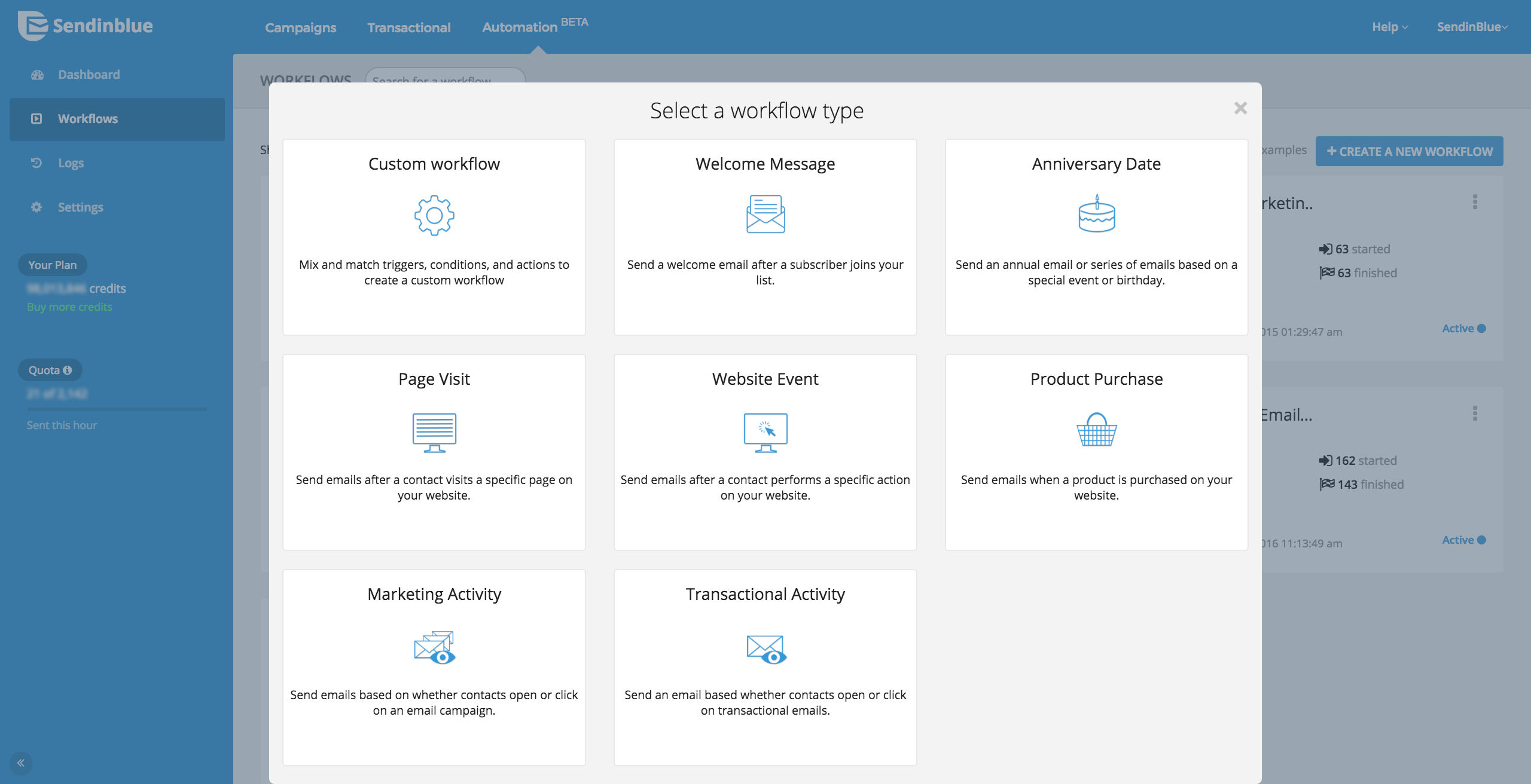 SendinBlue Email screenshot: Marketing Automation - Workflow Templates
