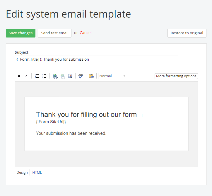 Edit System Email Template