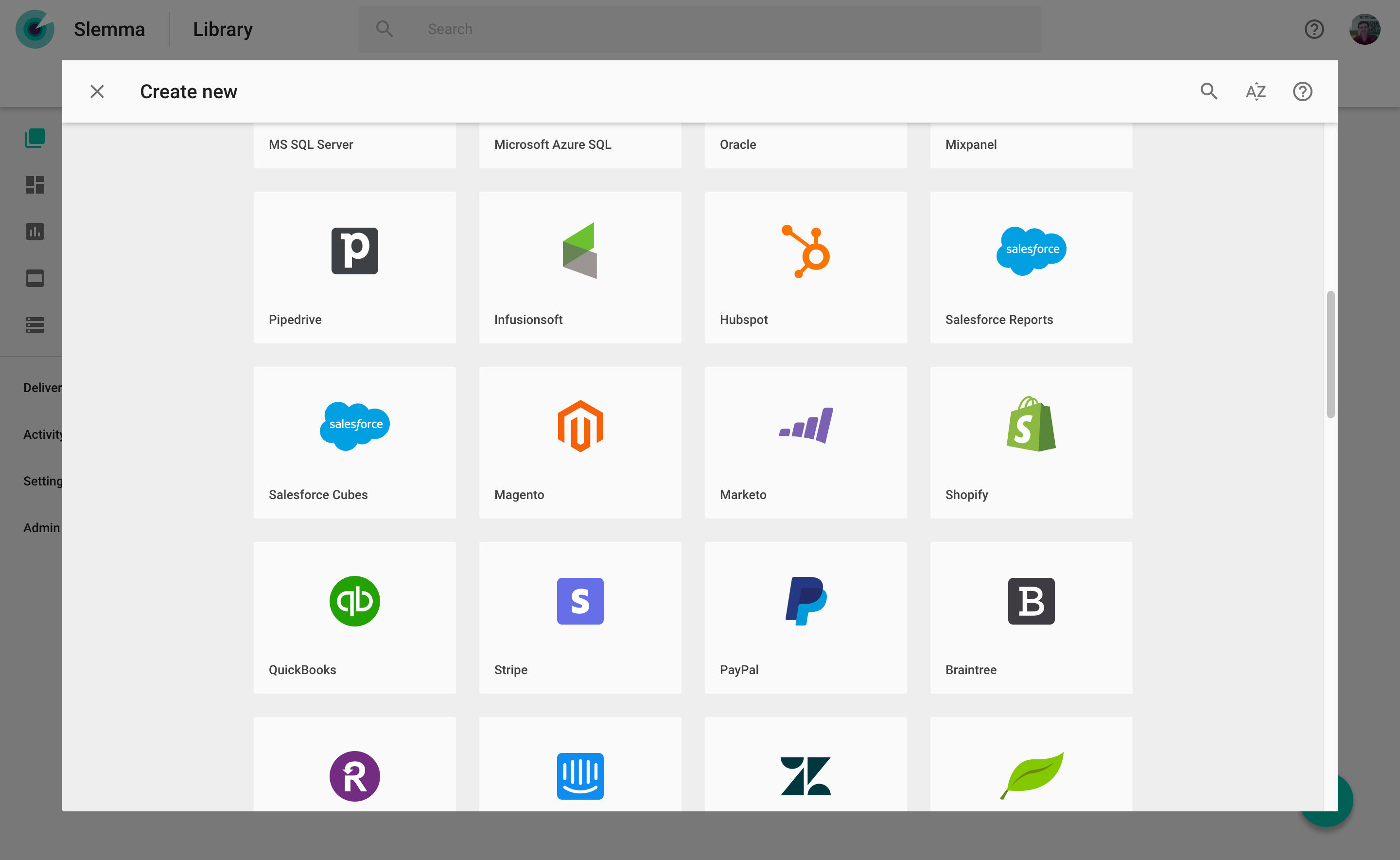 Slemma screenshot: Integrate with the cloud storage, data warehouse and cloud service solutions you already use.