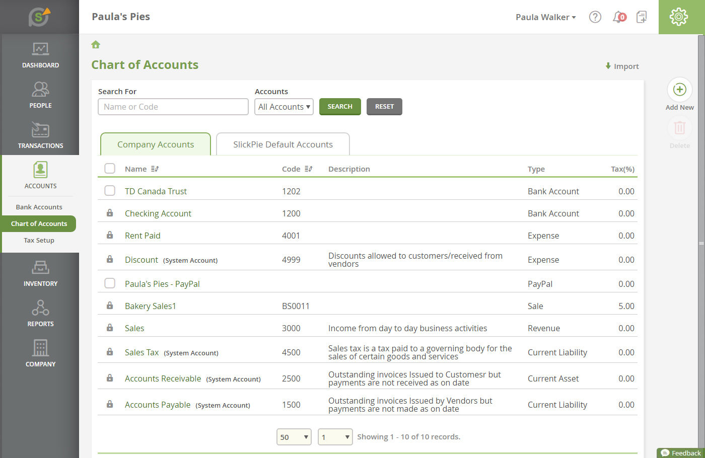 SlickPie screenshot: Users can view detailed accounting statements with SlickPie