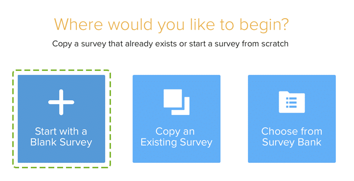 SoGoSurvey screenshot: Start from scratch, copy a previous survey or choose from the bank of survey templates