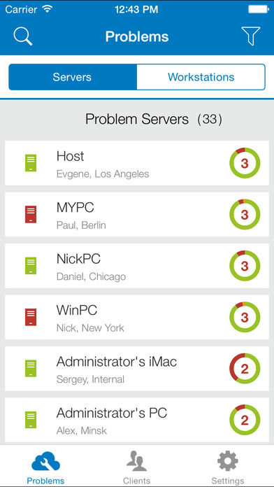 SolarWinds RMM screenshot: Users can track and manage issues with servers and workstations