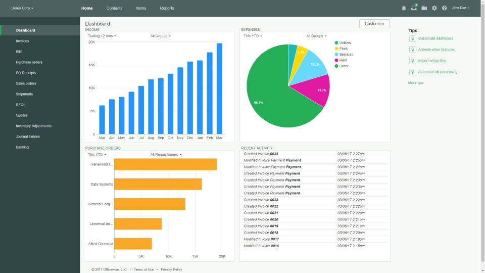 Officewise screenshot: View business data using charts and graphs in the Officewise dashboard