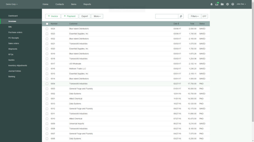 Officewise screenshot: View all invoices generated to date with Officewise's invoice management feature