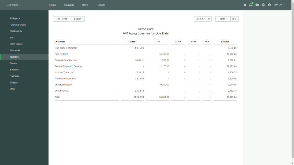 Officewise screenshot: Generate accounts payable and receivable reports